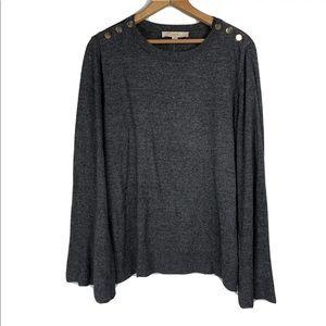 LOFT Gray Wool Blend Sweater Bell Sleeves Buttons